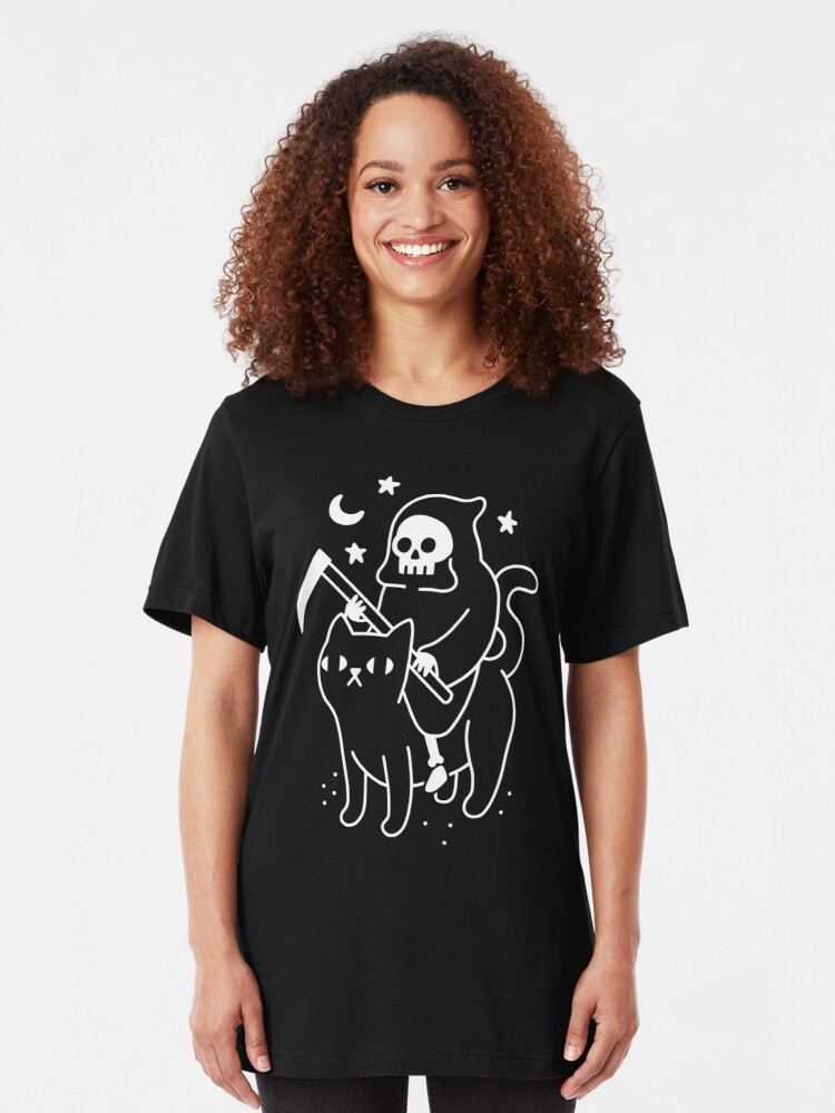 Alternate view of Death Rides A Black Cat Slim Fit T-Shirt