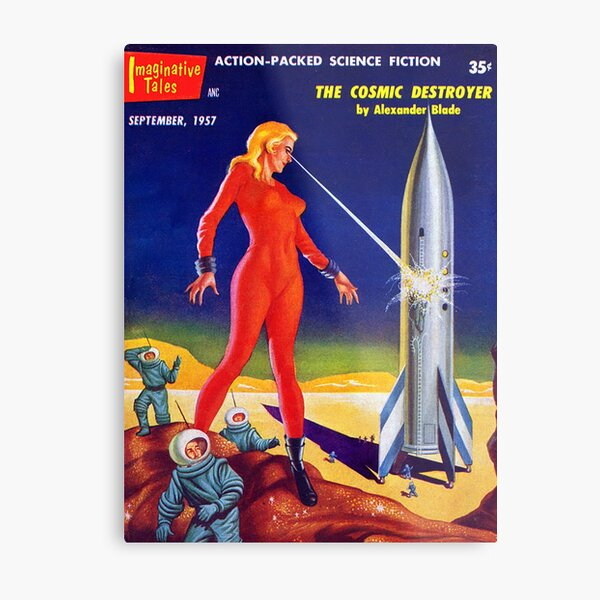 Giant Woman Destroys Rocket w/ Lasers Metal Print