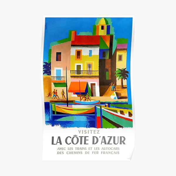 1963 Cote d'Azur French Riviera Vintage World Travel Poster Poster