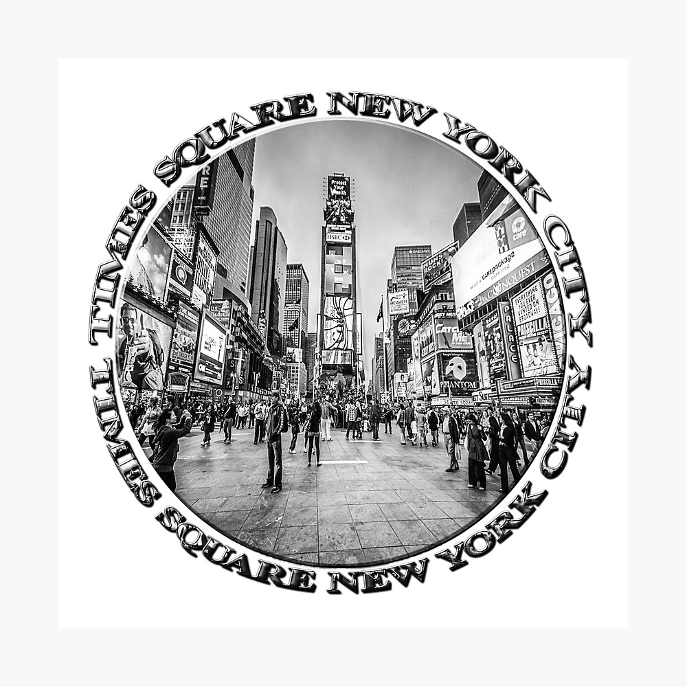 Times Square Sparkle (b&w badge on white) Photographic Print
