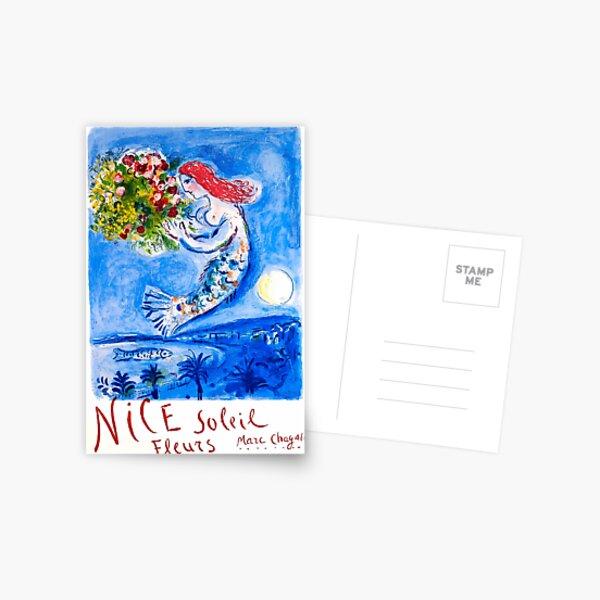 1962 Marc Chagall Nice Soleil Fleurs France Affiche de voyage Carte postale