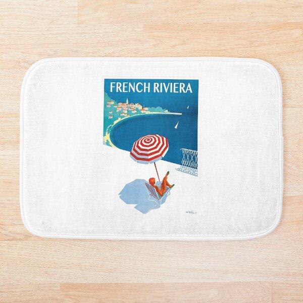 1954 French Riviera Travel Poster Bath Mat
