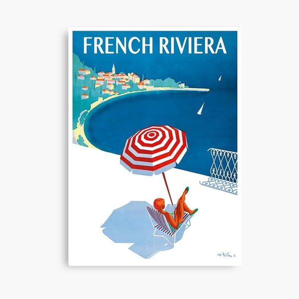1954 French Riviera Travel Poster Canvas Print