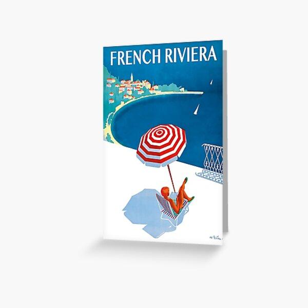 Cartel de viaje de la Riviera francesa de 1954 Tarjetas de felicitación