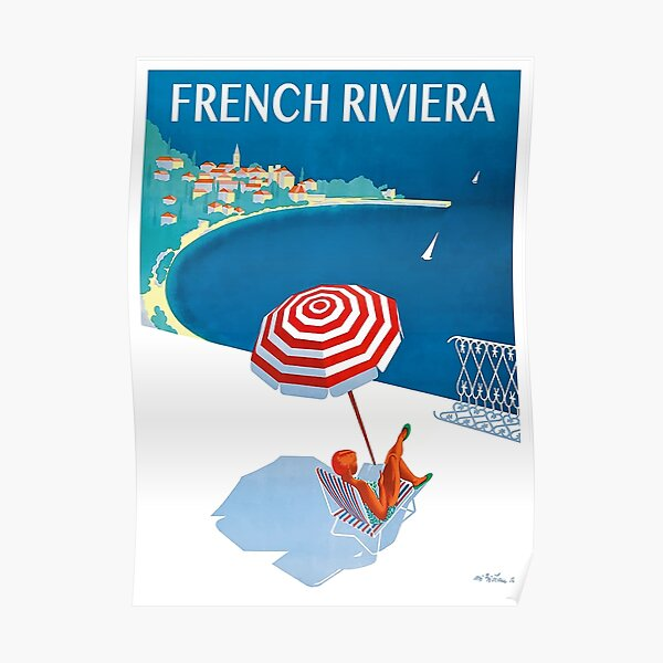 1954 French Riviera Travel Poster Poster