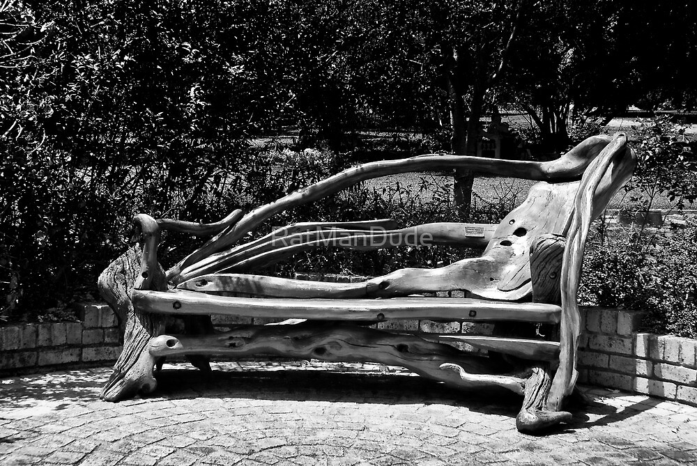 Wooden Park Bench - BW by RatManDude