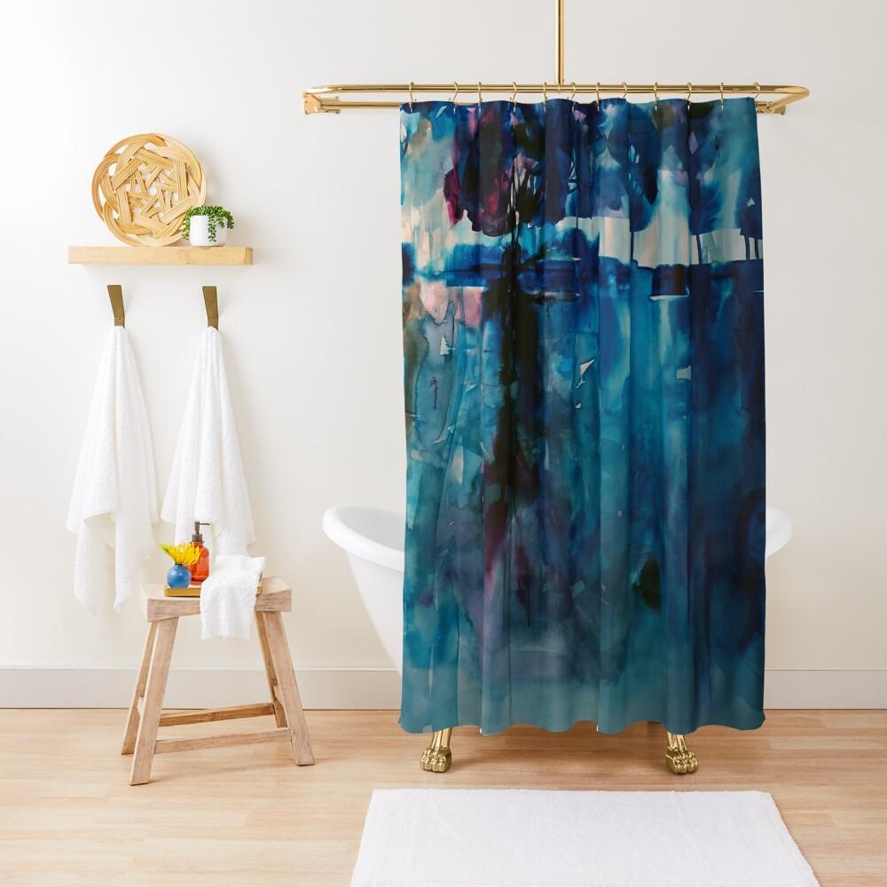blue landscape Shower Curtain