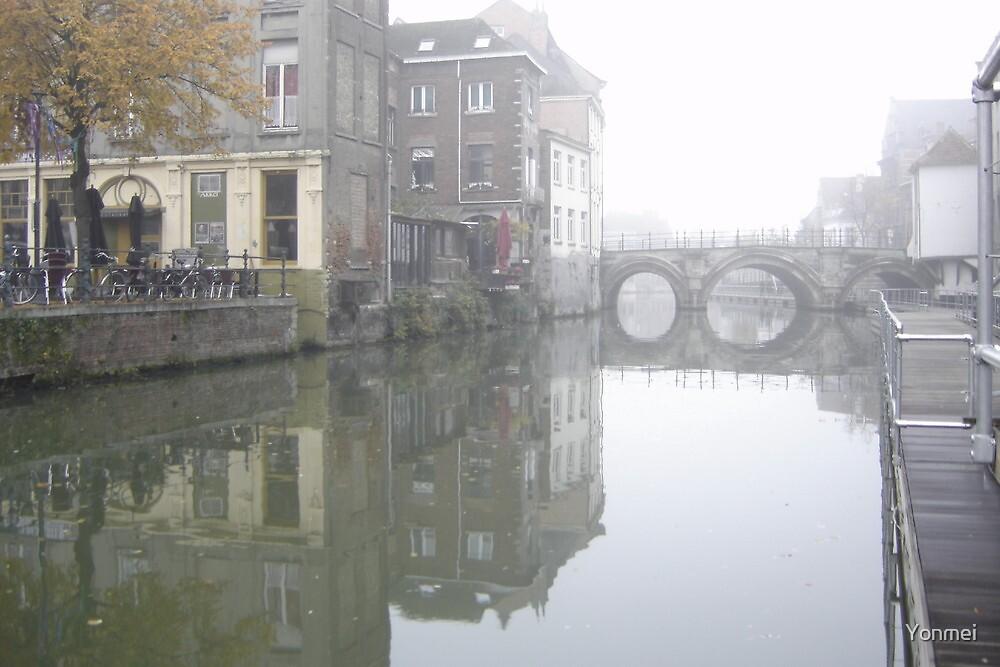 Mist on Dijle River by Yonmei