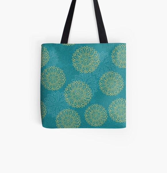 Floral Block Print Art All Over Print Tote Bag