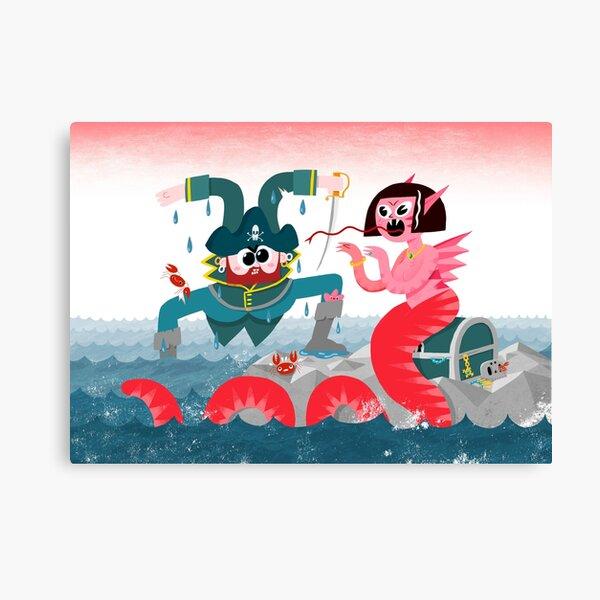 Landlubber & Lizard Siren Lady & Treasure Chest Canvas Print
