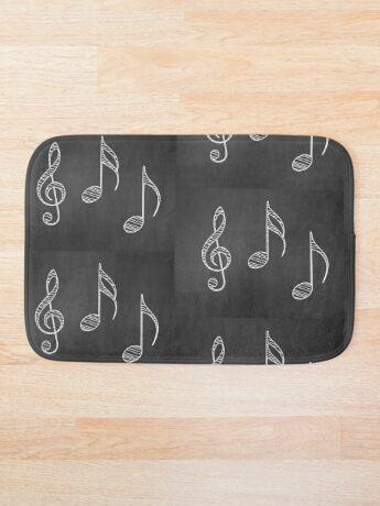 Musiknoten auf Tafel Badematte