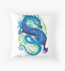 Blue Water Dragon Throw Pillow