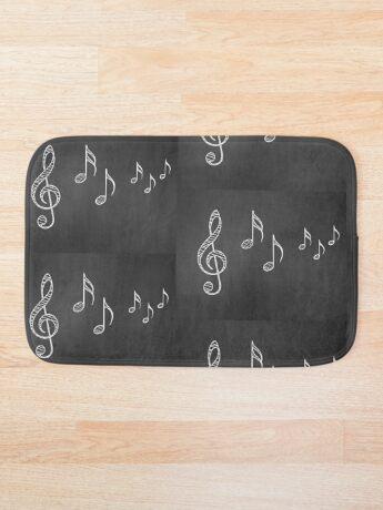 Musiknoten auf Tafel 4 Badematte