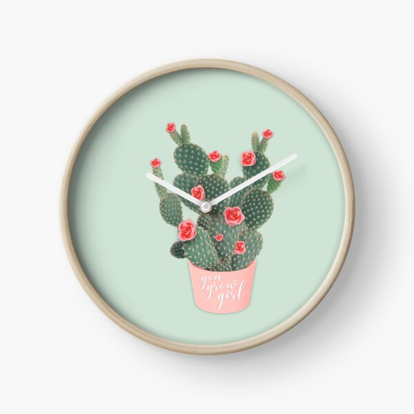 You grow girl Rose Cactus Clock