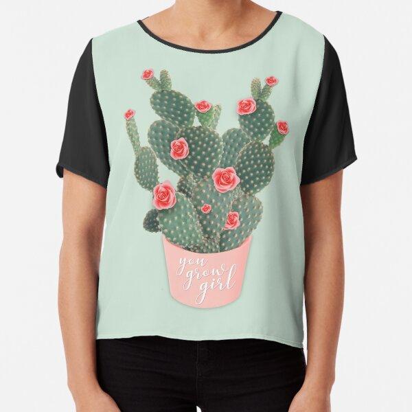 You grow girl Rose Cactus Chiffon Top