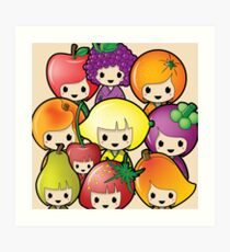 Fruit Kokeshi Dolls Art Print