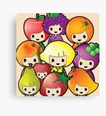 Fruit Kokeshi Dolls Canvas Print
