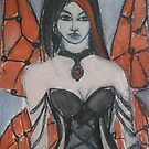 Gothic Beauty with Red Wings by Anthea  Slade
