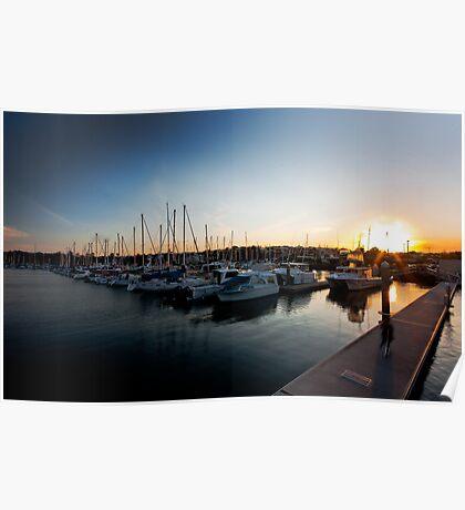 Sunset on the Marina Poster