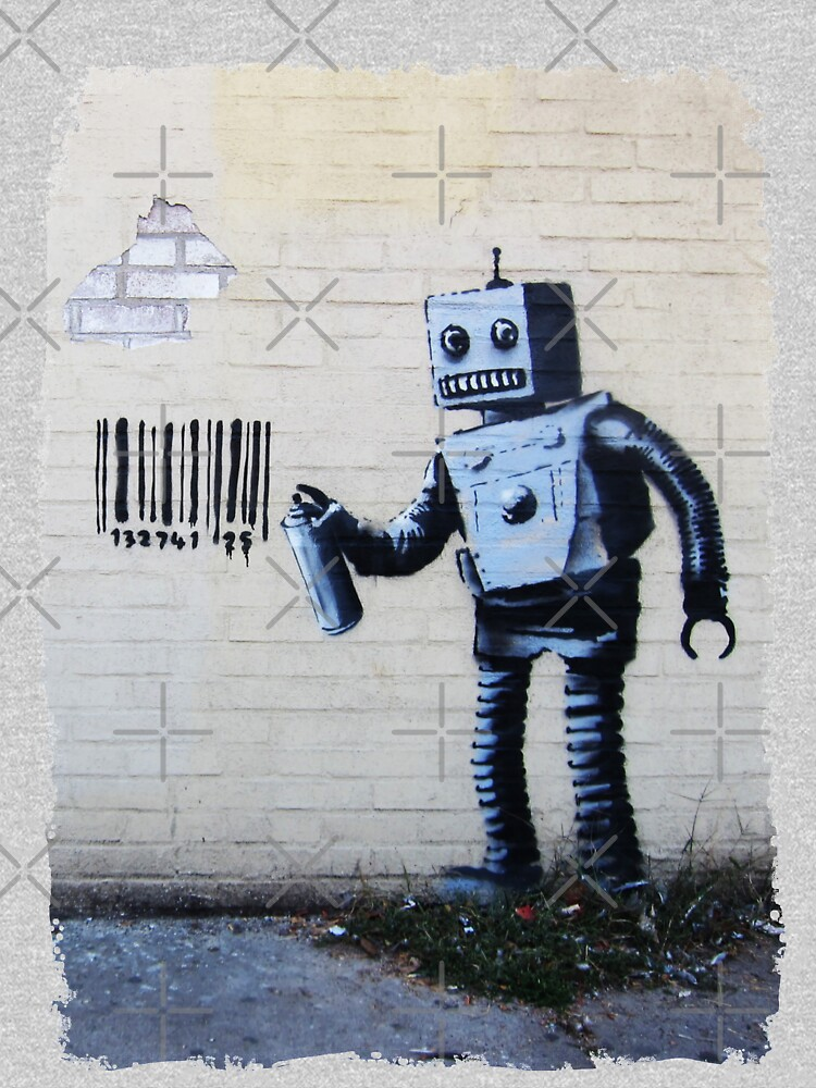 Banksy graffiti smiling Robot and barcodes Better Out Than In New York City residency on brick wall by iresist