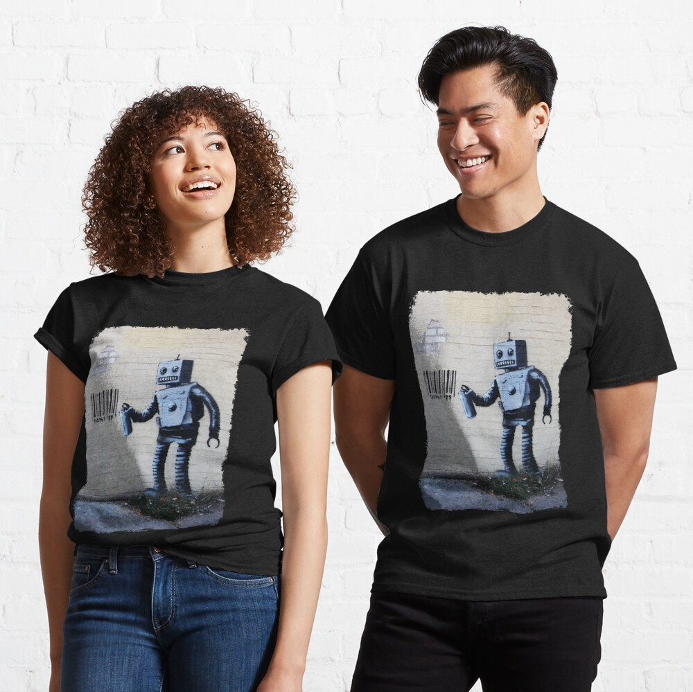 Banksy graffiti smiling Robot and barcodes Better Out Than In New York City residency on brick wall Classic T-Shirt