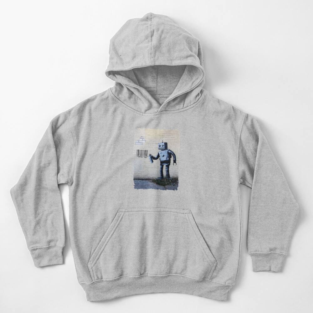Banksy graffiti smiling Robot and barcodes Better Out Than In New York City residency on brick wall Kids Pullover Hoodie