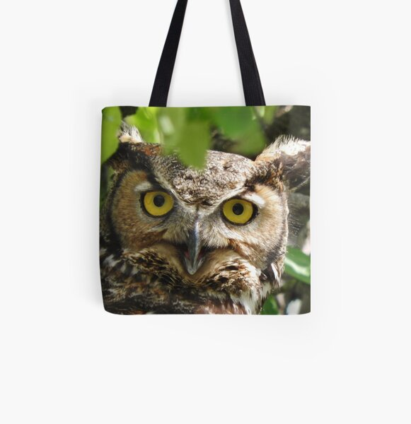 Great-horned Owl Closeup All Over Print Tote Bag