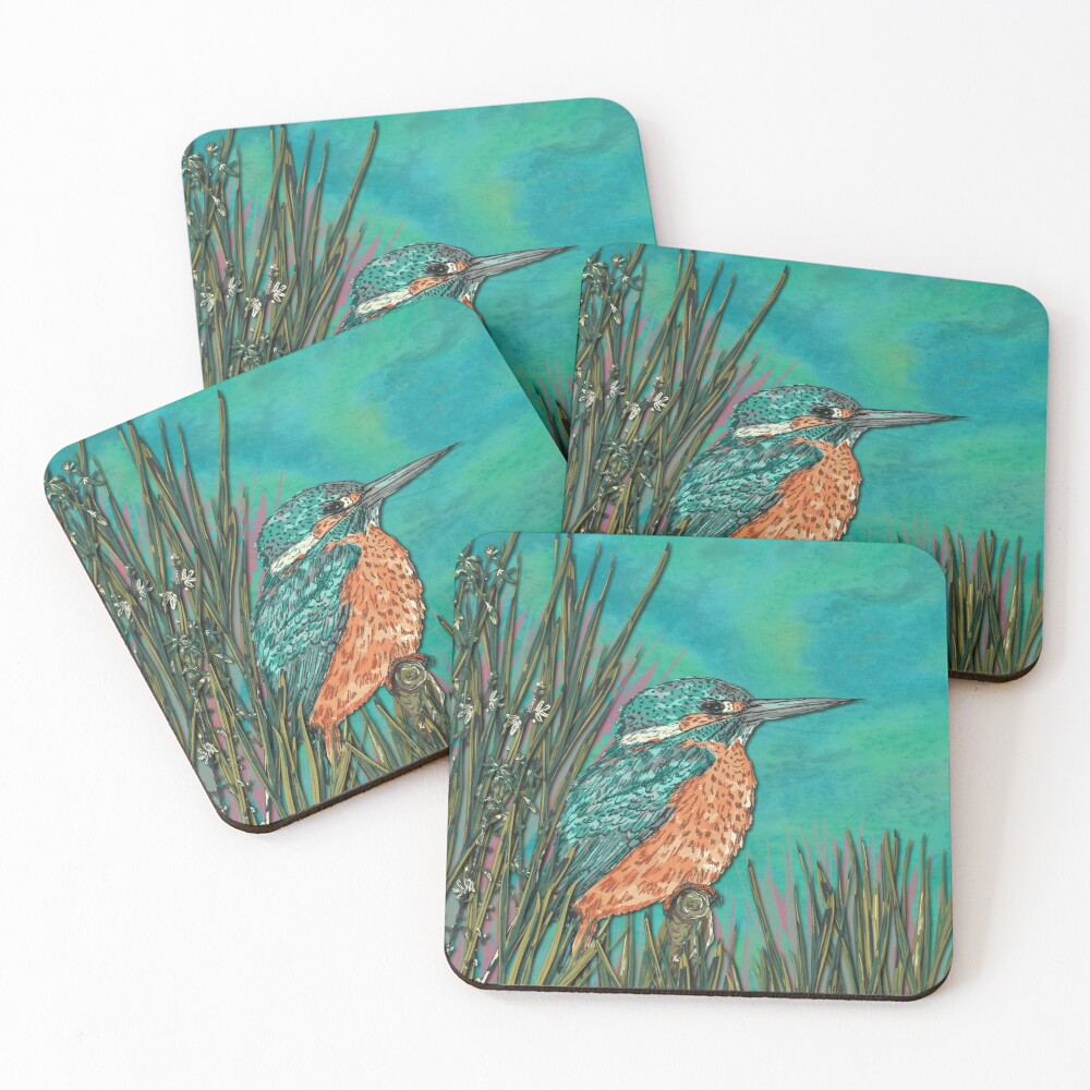 Kingfisher Coasters (Set of 4)