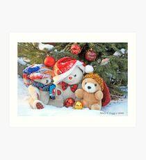 Three teddy bear friends  under the outdoor Christmas Tree Art Print