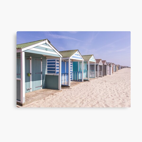 Pastel stripey beach huts at West Wittering beach *2* Metal Print