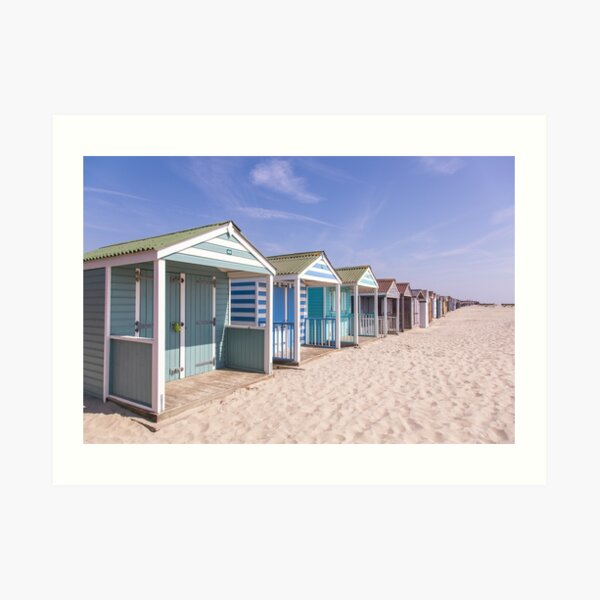 Pastel stripey beach huts at West Wittering beach *1* Art Print