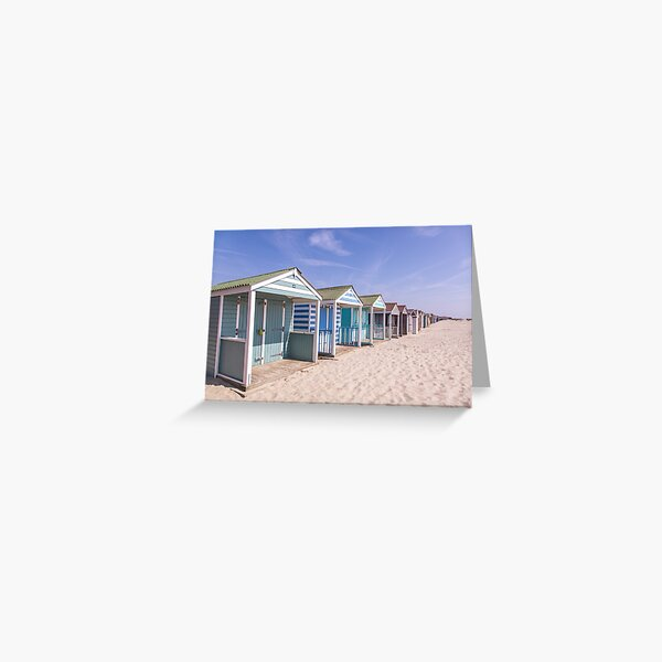 Pastel stripey beach huts at West Wittering beach *1* Greeting Card