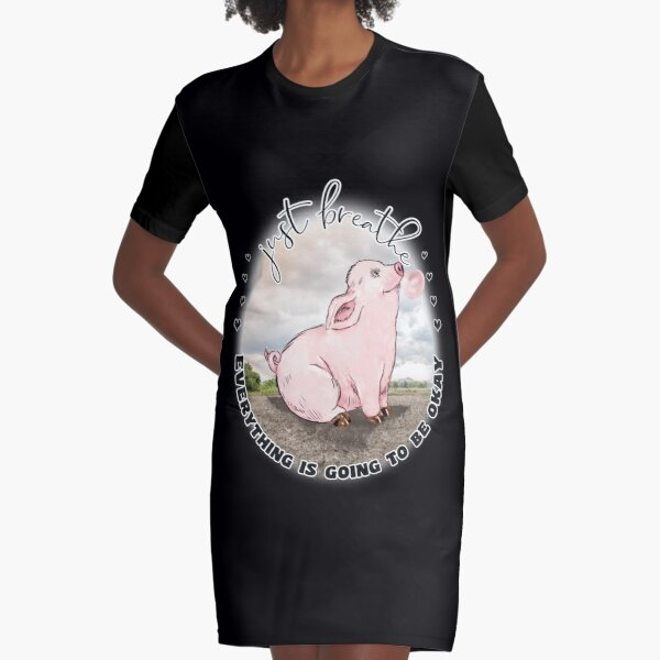 Happy Bubblegum Piggy Inspirational  Just Breathe  Graphic T-Shirt Dress