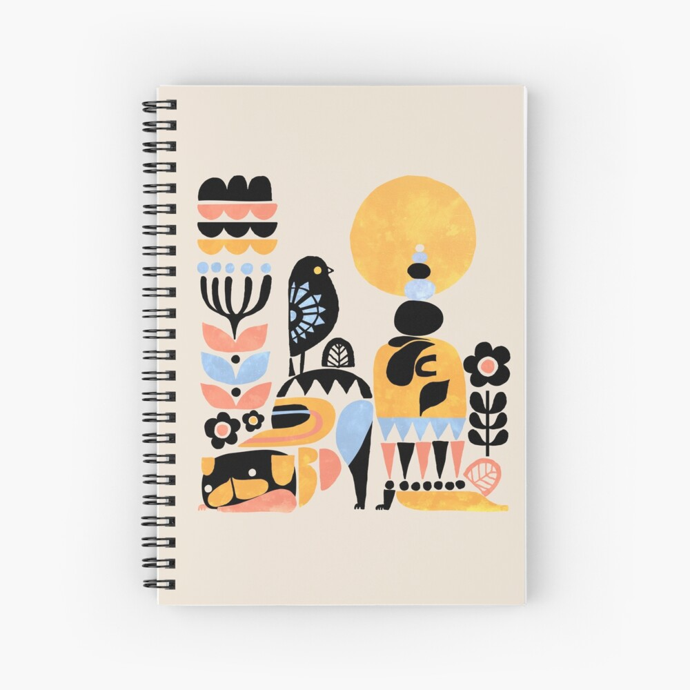 Scandinavian Pug Yoga Spiral Notebook