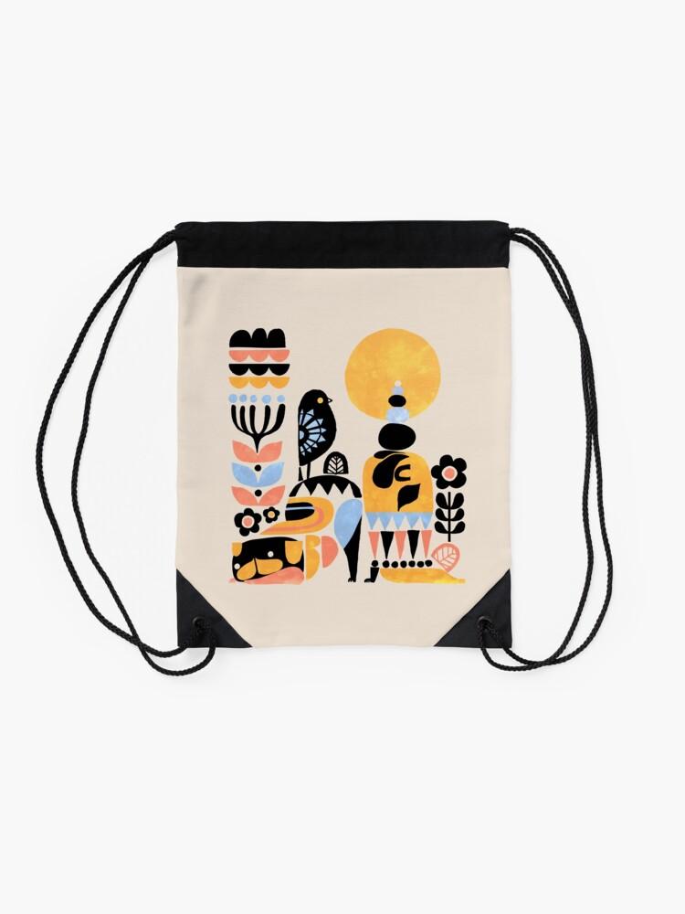 Alternate view of Scandinavian Pug Yoga Drawstring Bag