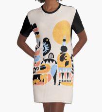 Scandinavian Pug Yoga Graphic T-Shirt Dress