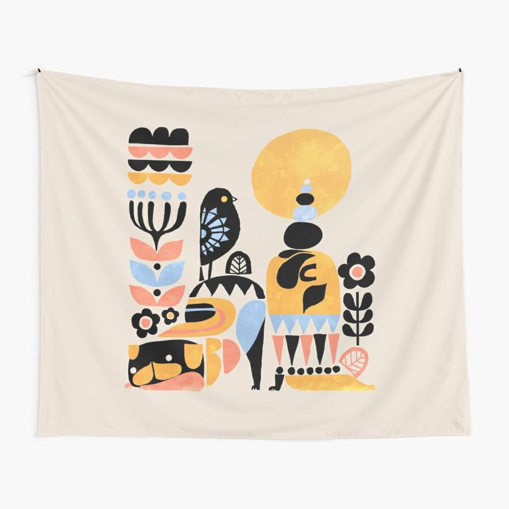 Scandinavian Pug Yoga Wall Tapestry