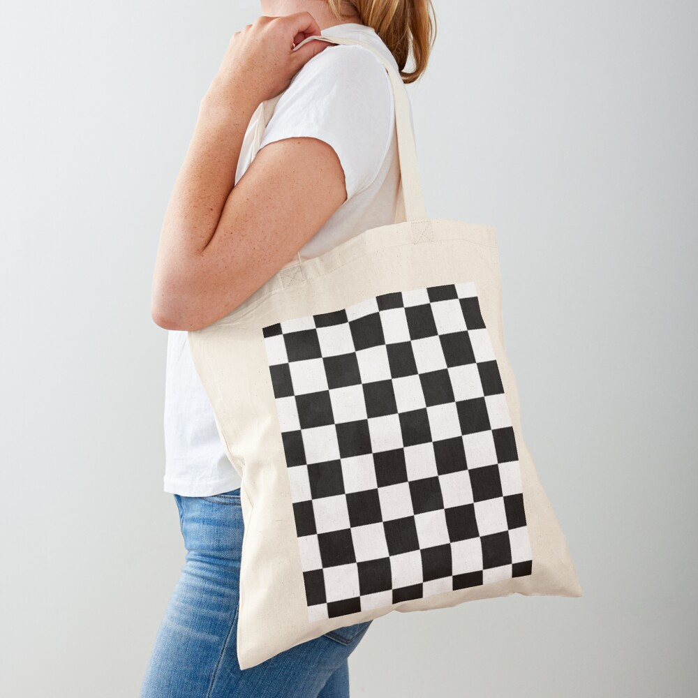 Checkered Flag, Chequered Flag, Motor Sport, Checkerboard, Pattern, WIN, WINNER,  Racing Cars, Race, Finish line, BLACK. Tote Bag