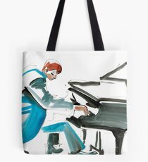 Pianist Musician Expressive Drawing Tote Bag