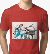 Pianist Musician Expressive Drawing Tri-blend T-Shirt