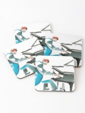 Pianist Musician Expressive Drawing Coasters