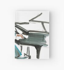 Pianist Musician Expressive Drawing Hardcover Journal