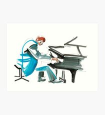 Pianist Musician Expressive Drawing Art Print