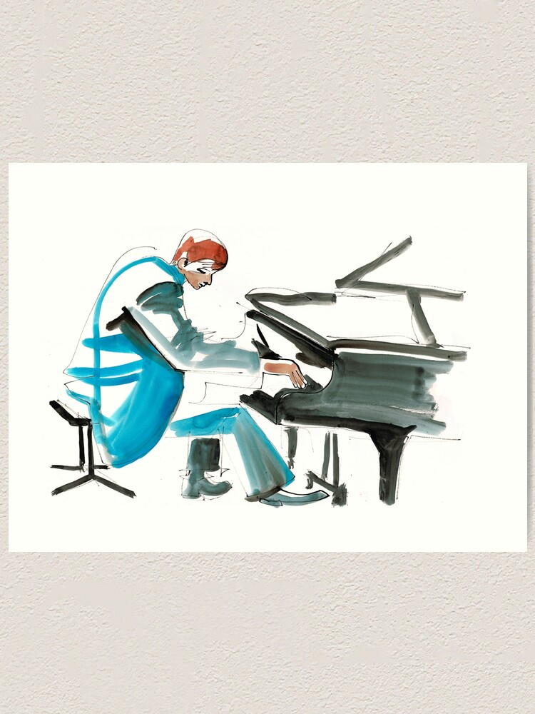 Alternate view of Pianist Musician Expressive Drawing Art Print