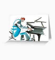 Pianist Musician Expressive Drawing Greeting Card
