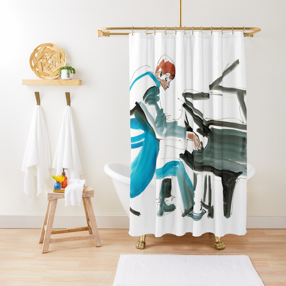 Pianist Musician Expressive Drawing Shower Curtain