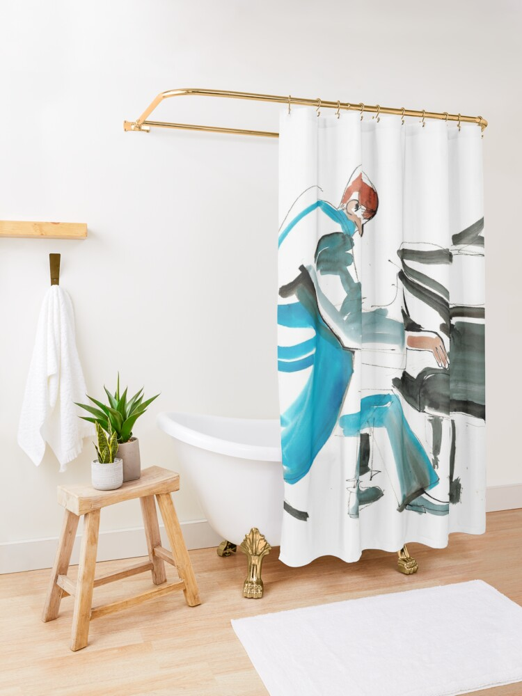 Alternate view of Pianist Musician Expressive Drawing Shower Curtain