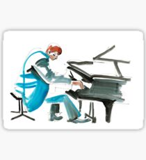 Pianist Musician Expressive Drawing Sticker
