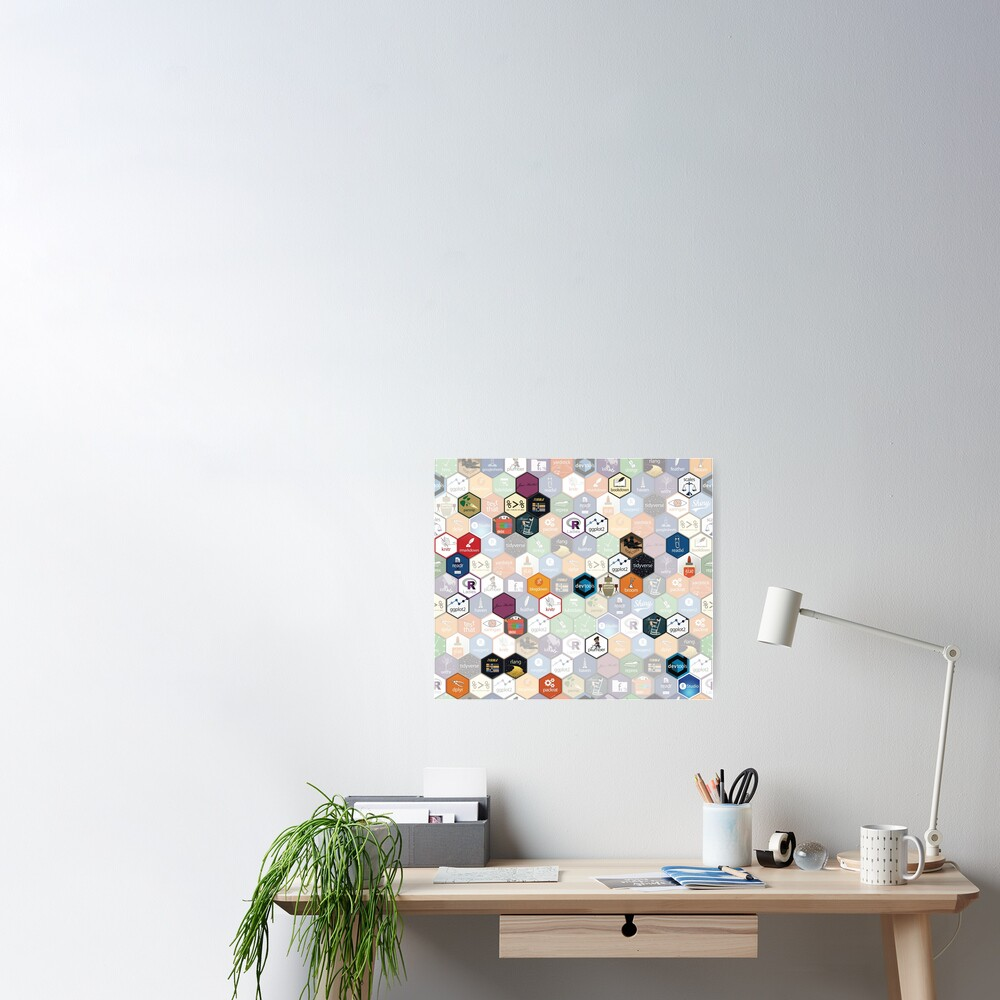 R hex fabric (small hexes) Poster