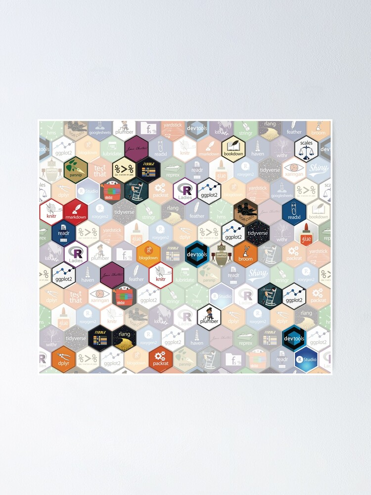 Alternate view of R hex fabric (small hexes) Poster